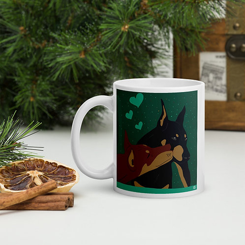 Kissing Dobermans Mug