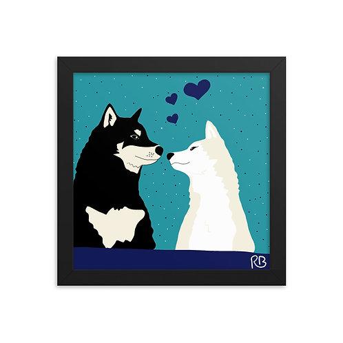 Kissing Shibas Framed poster