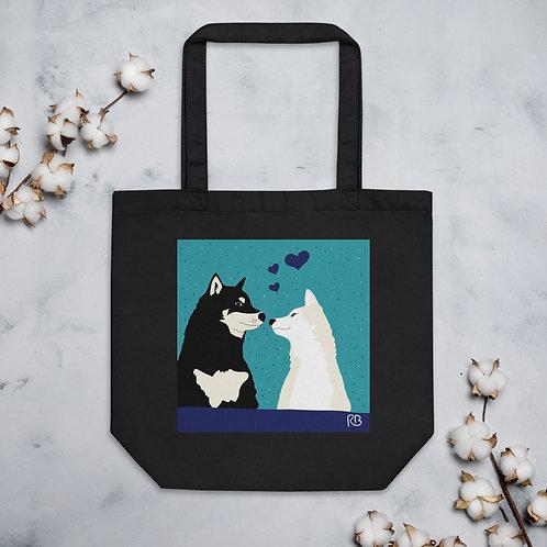Kissing Shiba's Tote Bag