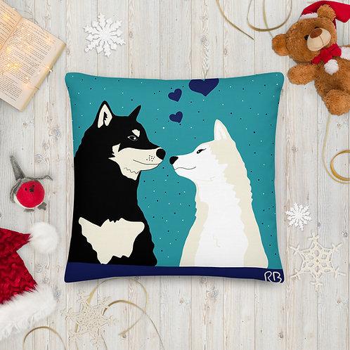 Kissing Shibas Premium Pillow