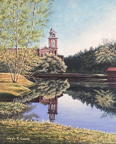 Abbey Pond complete egg tempera 8 x 10 (