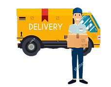 stock-vector-delivery-man-and-track-flat