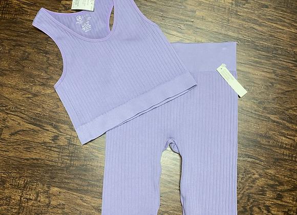 Ladies OneSize Lavender Shortset