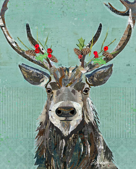 A Merry Christmas Reindeer - Fine Art Holiday Collage