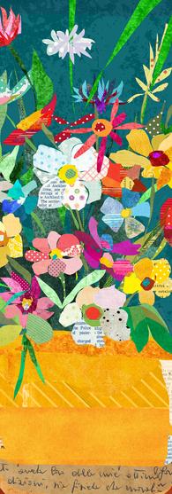 Whimsical Collage Still Life Flower Pot
