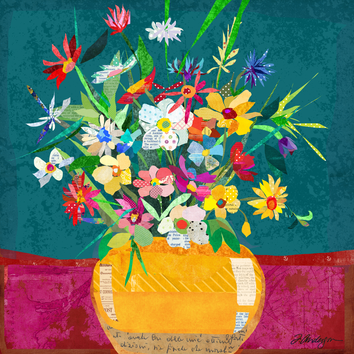 Colorful Collage Flower Pot Still Life