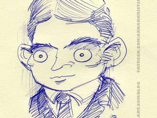 Kafka with a ballpoint pen