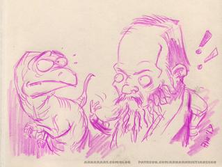 Dostoevsky scolds his Velociraptor