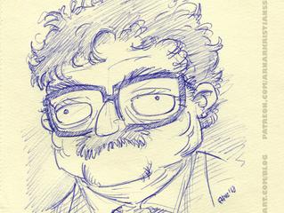 Kurt Vonnegut with a ballpoint pen