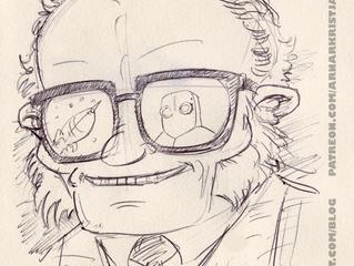 Isaac Asimov with a ballpoint pen