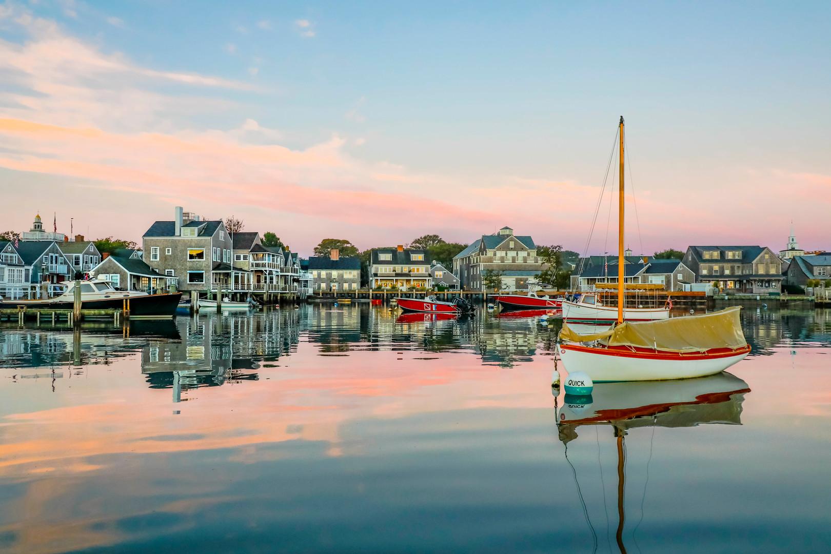 Colorful Nantucket Boats at Sunrise