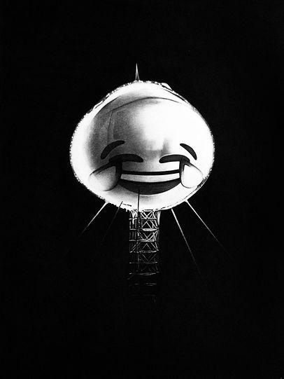 Atomic Emoji #1, 2020 (charcoal on paper