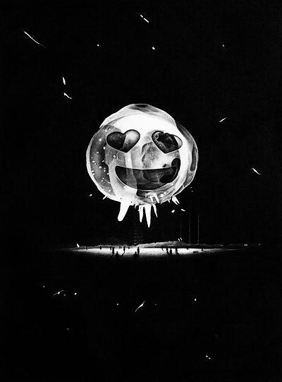 Atomic Emoji #2, 2020 (charcoal on paper