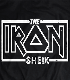 The iron Sheik, Tshirt with iron Maiden Font, wwe Hall of famer and living legend,pro wrestling t shirts UK