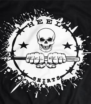 Heel shirts logo,pro wrestling tees,attitude era,skull and baseball bat,hardcore wrestling,pro wrestling tees,t shirt