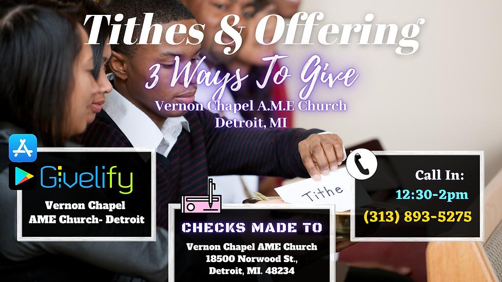 Vernon Chapel AME Detroit Tithes Offerin