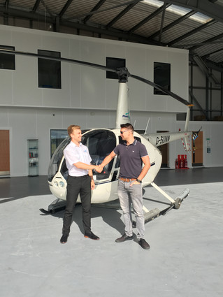 Tom Passes his R44 type rating at Solent Airport, Tom will now go on to join our pleasure flying and