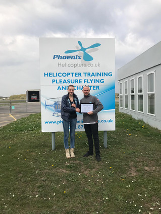 Well done to Ginta for completing her PPL(H) at Blackbushe Airport - passing with flying colours.