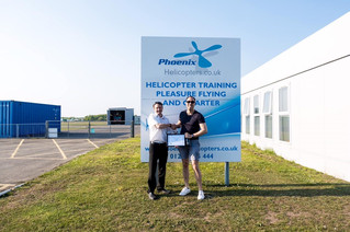 Well done to Stuart for passing his PPL(H) on the R22 at Blackbushe Airport.