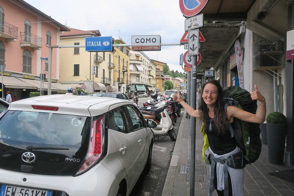 Endlich geschafft. Grenzübergang Schweiz Italien in Como