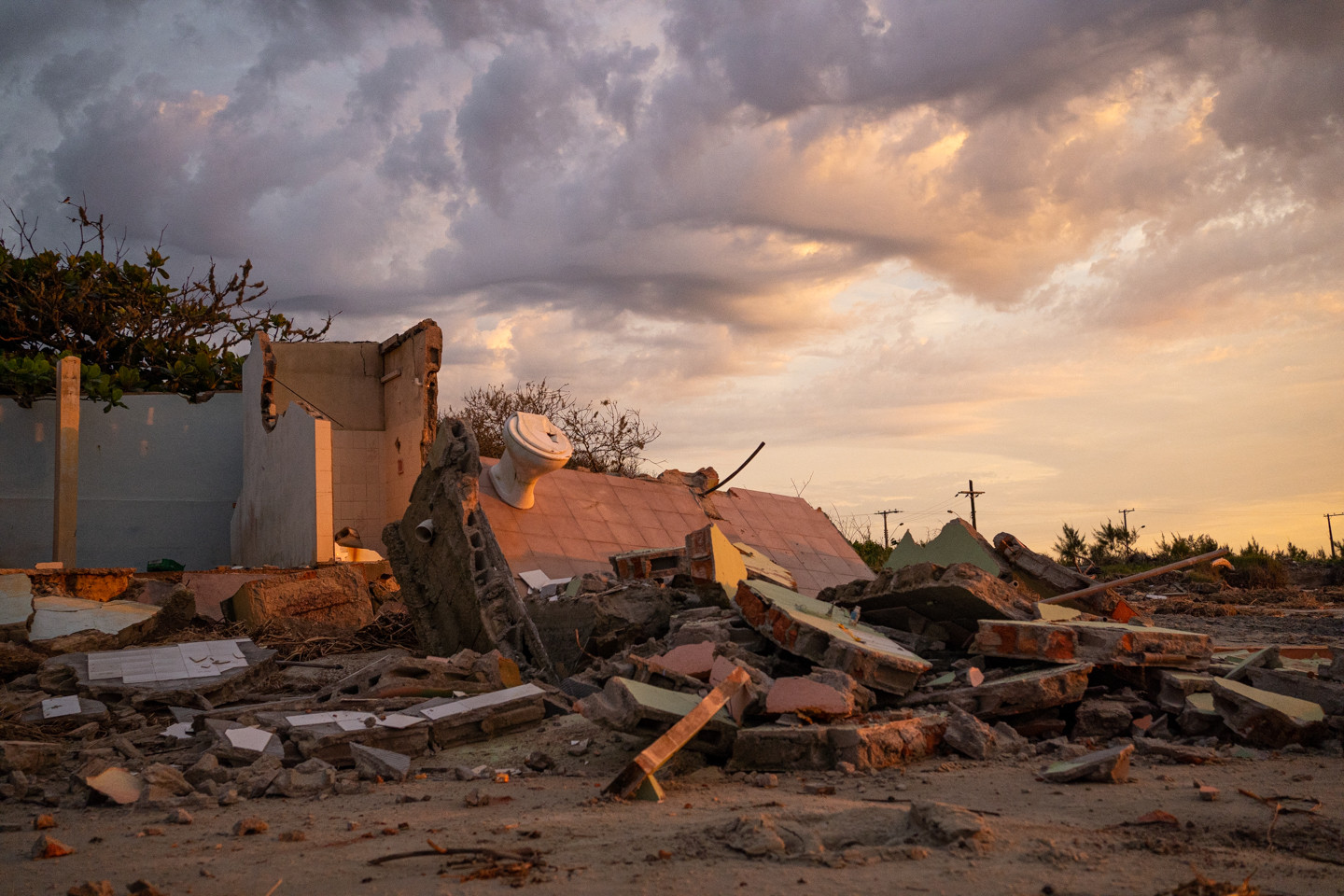 A destroyed house is seen on East beach in Ilha Comprida, Sao Paulo state, Brazil, February 19, 2020.