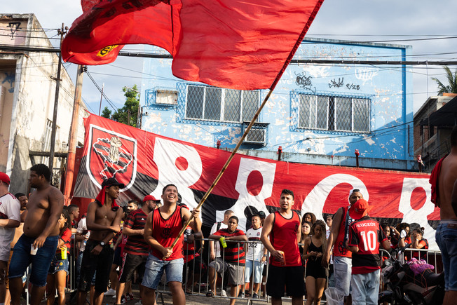 """A crowd of Flamengo fans during during the final match of FIFA Club World Cup Flamengo verses Liverpool at the fan club """"Raça Rubro-Negra"""" headquarters in Rio de Janeiro, December 21, 2019"""