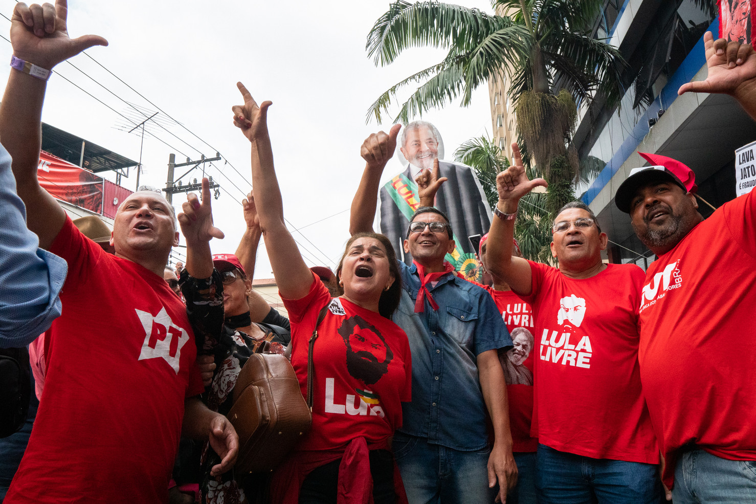 Former President Luiz Inacio Lula da Silva after being released from prison gave a speech and was cheered by thousands of his supporters in front of the ABC Metalworkers Union during an event organized by the Homeless Workers Movement and the Povo Sem Medo (Fearless People) Movement in São Bernardo do Campo, November 09, 2019.