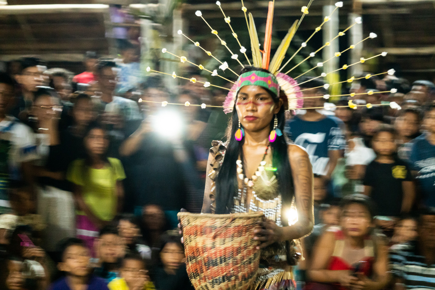 Closing ceremony of the 12th Ordinary Assembly of COIAB (Coordination of Indigenous Organizations of the Brazilian Amazon) in Santo Antonio do Iça, Amazonas state, Brazil, September 2019. Around 300 indigenous leaders gathered to reaffirm the 519 years of resistance in the struggle to ensure and strengthen the rights to their territories and the right to preserve their cultures. This event takes place every two years.