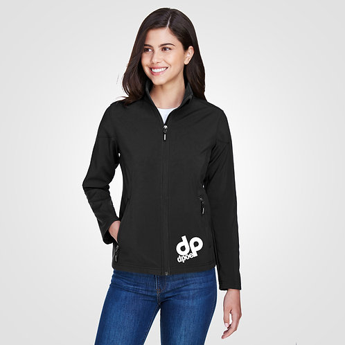 dpoe Black Two-Layer Fleece Bonded Soft Shell Jacket Front View