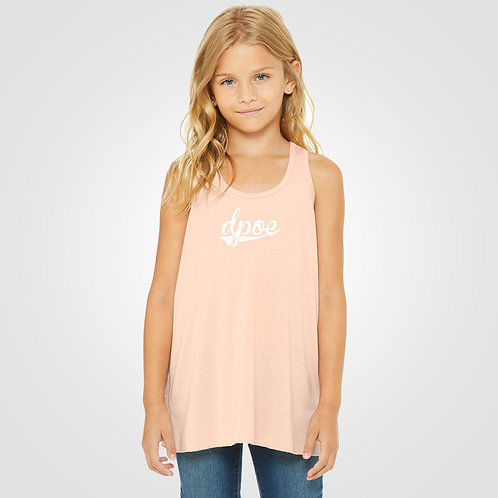 dpoe Peach Youth Flowy Racerback Tank Front View