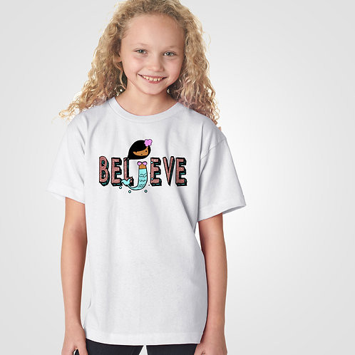dpoe White Youth Girl T-Shirt Front View