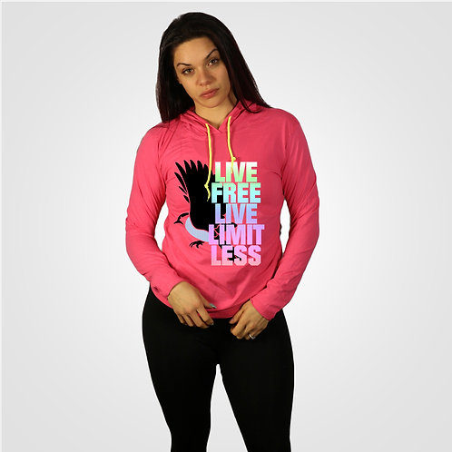 dpoe Heather Pink Lightweight Long Sleeve Hooded T-Shirt
