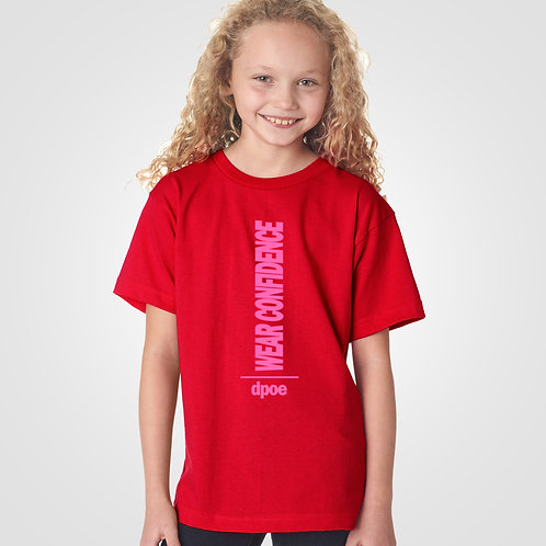 dpoe Red Youth Girl T-Shirt Front View