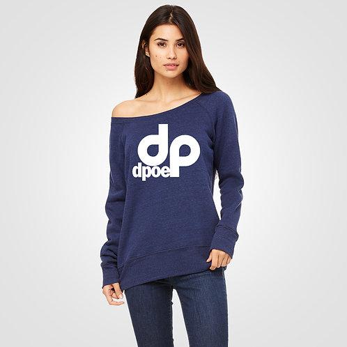 dpoe Navy Triblend Sponge Fleece Wide Neck Sweatshirt Front View