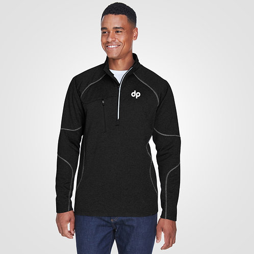 dpoe Black Performance Fleece Quarter-Zip Front View