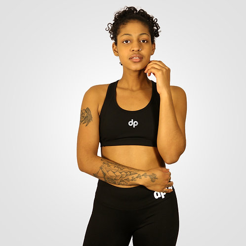 dpoe Black Sports Bra Front View 3M Reflective