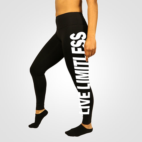 dpoe Black Fitness Leggings Pants Side View