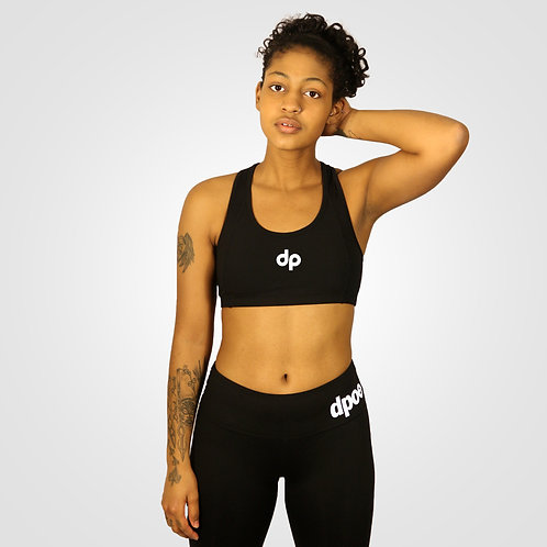 dpoe Black Racerback Sports Bra Front View