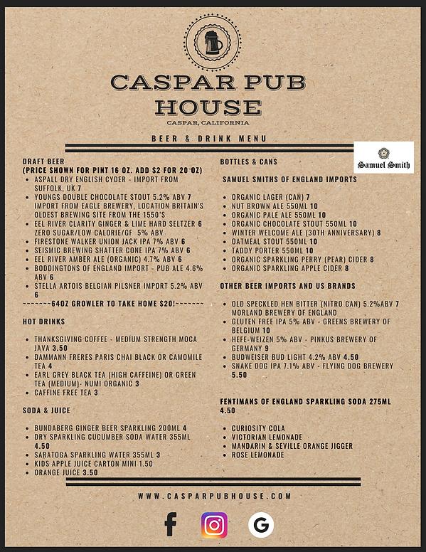 Brown Paper Textured Background Pub Menu