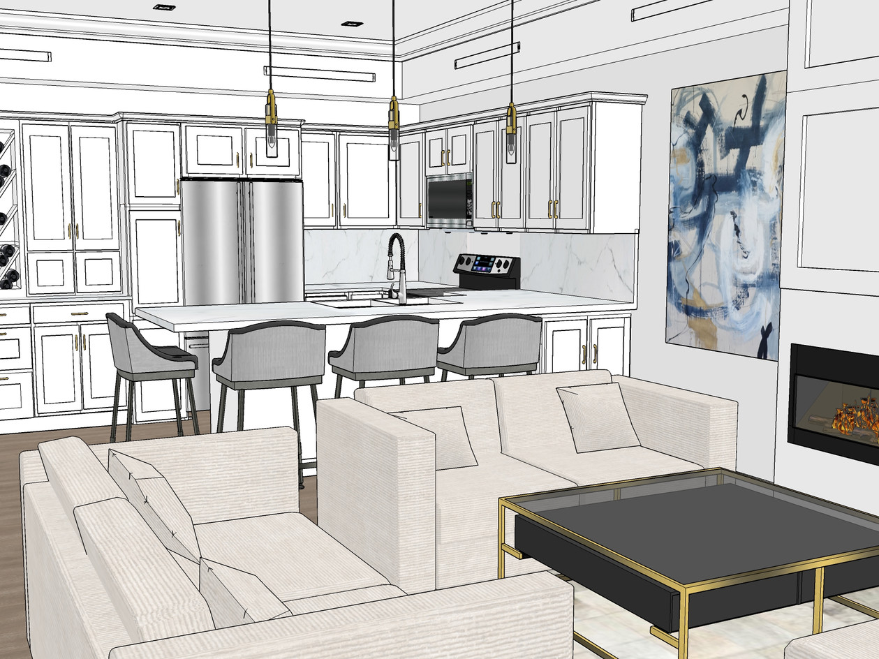 Kitchen & Living Room Design Rendering
