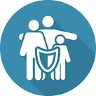 Icon with family covered by insurance shield