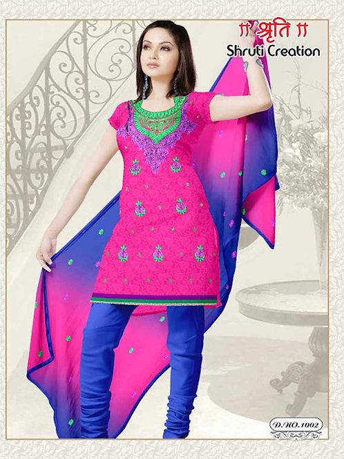 1002 Magenta and RoyalBlue Georgette Jacquard Dress Material