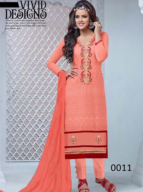 0011 Carrot Pink and Maroon Cambric Cotton Straight Suit