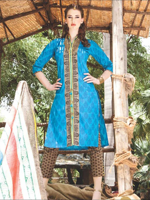 0847B SkyBlue and Brown Satin Cotton Straight Suit