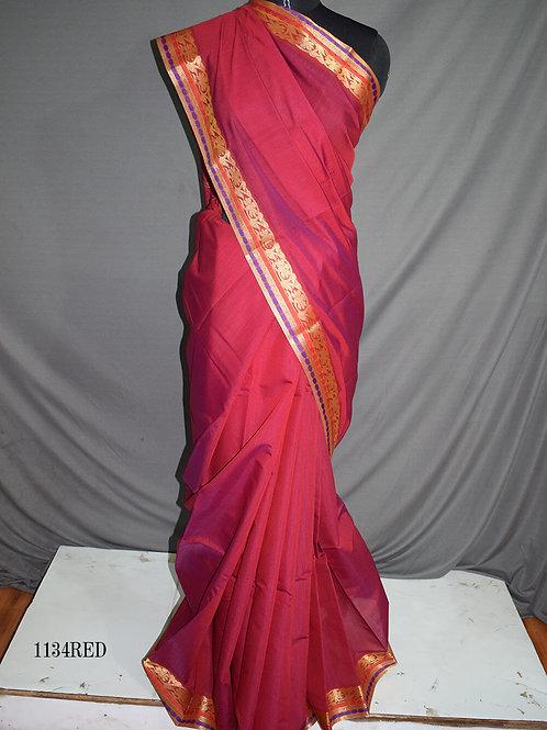 1134 Red Colored Mono Cotton Saree