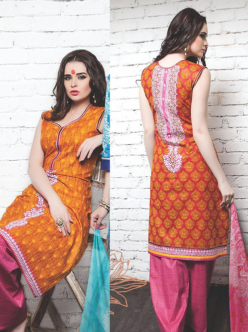 05Orange Red DarkPink Cotton Satin Pakistani Suit
