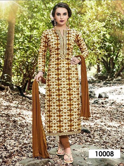 10008 Cream and Multicolor Designer Straight Suit