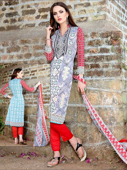 006SlateBlue and Red Printed Pure Cotton Long Concept Daily Wear Salwar Suit