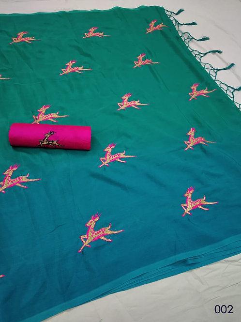 002 Sea Green and Blue Green Designer Chinon Silk Saree