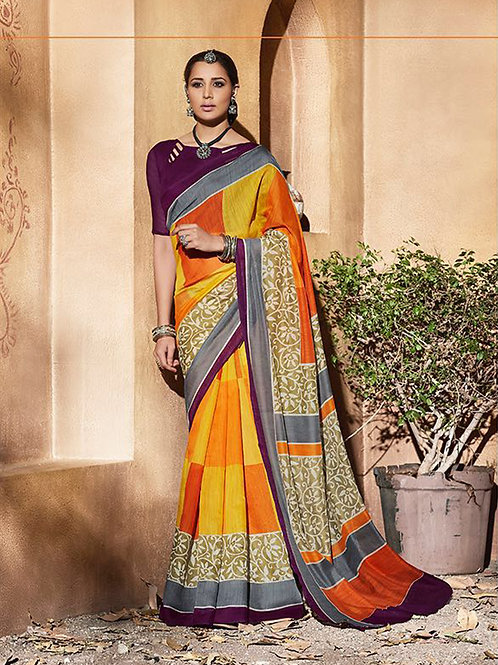 11006Orange and Yellow Daily Wear Printed Silk Saree with Blouse Piece